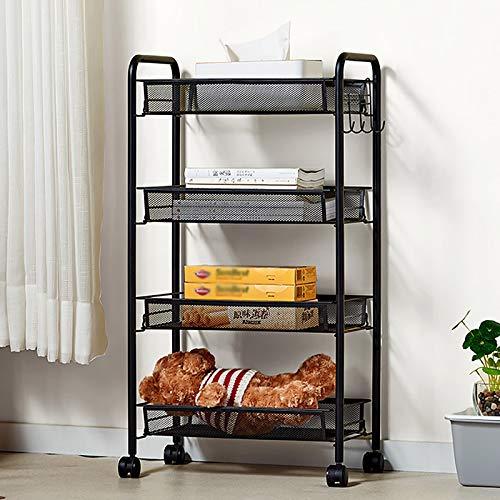 Heavy Almacenamiento Trolley Rolling Carrito de la Cocina Organizador de Almacenamiento de Cocina con Ruedas para la Cocina Home Office Garaje Artesanal (4 Niveles / 45 * 26 * 84cm)