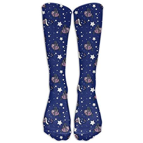 hgfyef Sport Breathable Crew Knee Socks Cute Climb Tree Sloth Calf Unisex Novelty Athletic Stocking Sock One Size