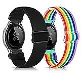 Zoholl Correa de nailon compatible con Garmin Vivoactive3/Galaxy Watch Active2 40 mm 44 mm/Galaxy Watch 42 mm, suave y transpirable correa de repuesto para reloj deportivo (20 mm negro + arco iris)