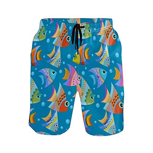 N\O Pantalones de playa de peces coloridos para hombre - - Small