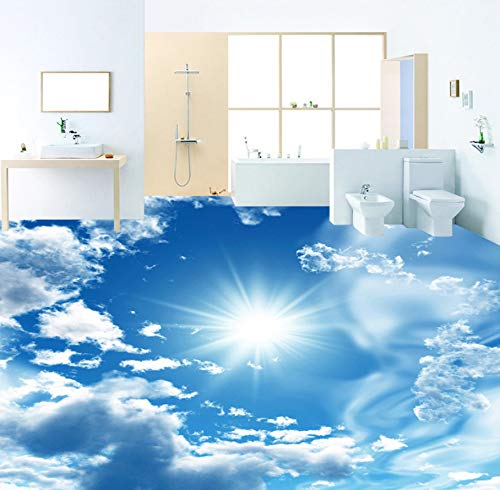 Yosot 3D-Stereoskopische Bodentapete mit blauem Himmel und weißen Wolken, 3D-Vinyl, selbstklebend, 200 x 140 cm