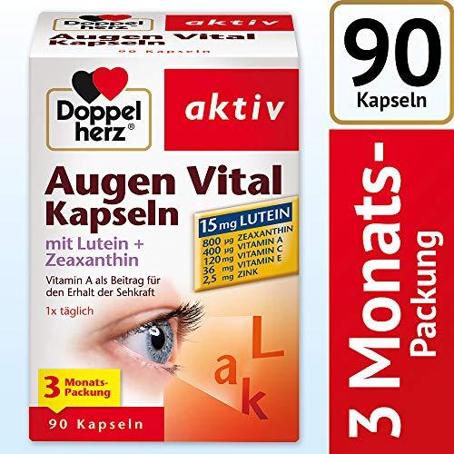 Doppelherz Augen Vital Kapseln mit Lutein + Zeaxanthin/ 3-Monats-Packung/ Nahrungsergänzungsmittel mit Vitamin A und Zink als Beitrag für den Erhalt der Sehkraft – plus Vitamin C & E/ 1x90 Kapseln