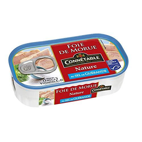 Connétable Foie de morue nature, au sel de Guérande. - La boîte de 121g