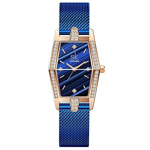 SK Plaza Reloje Mujere Correa de Malla de Acero Inoxidable Banda de Cuero Rectangular Relojes de Pulsera para Mujeres (Blue-Mesh)
