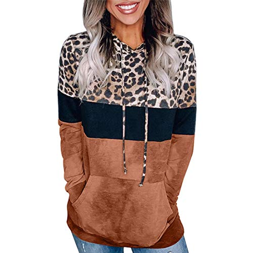 XWLY Hoodie Damen Chic Leopard Nähte Kordelzug Känguru Tasche Herbst Langarm Mode...