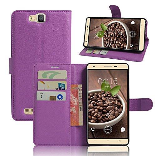 Tasche für Cubot H2 Hülle, Ycloud PU Ledertasche Flip Cover Wallet Case Handyhülle mit Stand Function Credit Card Slots Bookstyle Purse Design lila