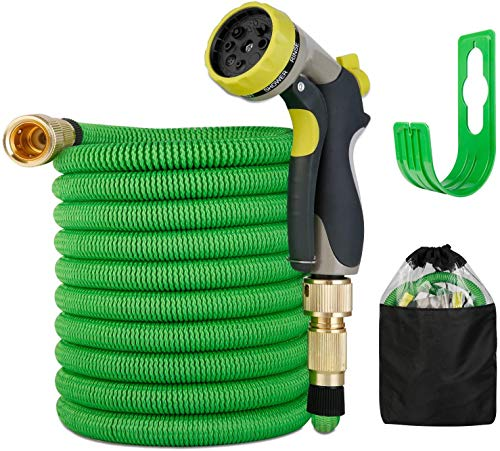 Expandable Garden Hose 50FT , Leak Proof Garden Water Hose with 9 Function Spray Nozzle,Superior Strength Expanding Garden Hoses, 3/4' Solid Brass Fittings, Upgraded Lightweight Expanding Hose