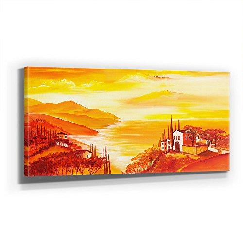 Mia Morro - MEDITERRAN 110x50cm XXL BILD - KUNST, Leinwand auf Echtholzrahmen aufgespannt, UV-stabil und wasserfest, modernes XXL Deko Bild FineArtPrint Wandbild