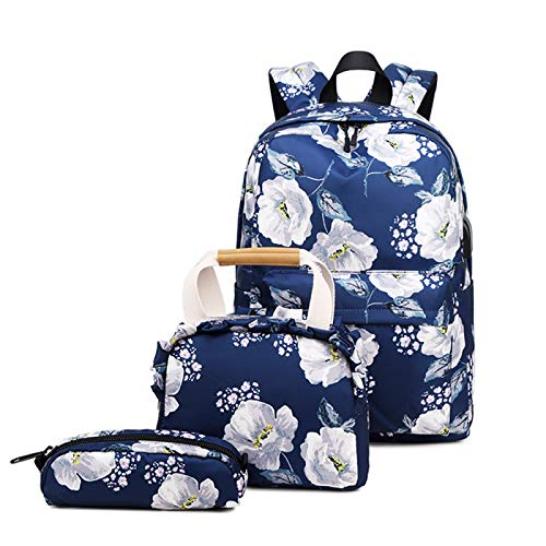 Laptop Backpack,Backpack Womens, Waterproof Fashion Printed School Backpack for Cute Laptop Backpack Set 3 Pieces, With USB Charging Port,Suitable for Women/Girls/Travel/Business