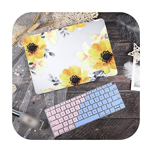 Case for Macbook Air 13, Marble Laptop Case for Macbook Air 13 Mac Book 2019 A1932 Retina Pro 13 15 Inch Touch Bar A2159 A251 A2289 + Keyboard-Yellow-Model A1466 A1369