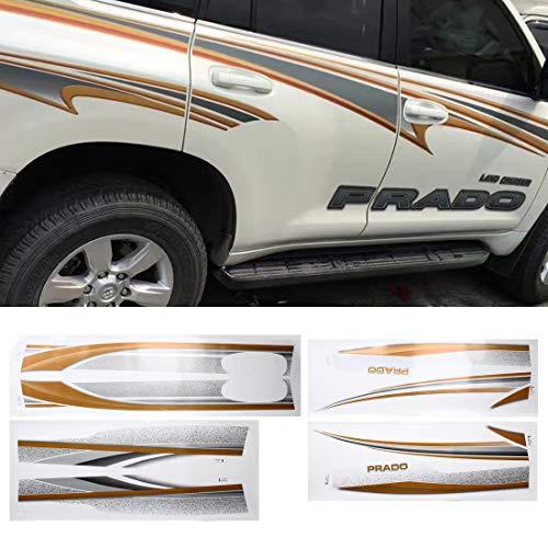 NoNoNo Gestreepte sticker Fasion SUV-lichaam decoratieve strepen merk auto Streamline-glanzende sticker 4 stuks, geschikt voor Prado 2014