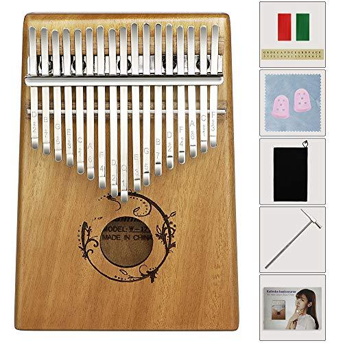 EXTSUD Daumenklavier Kalimba 17 Schlüssel Instrument Marimba Mahagoni Finger Klavier mit Stimmhammer Musikinstrument Geschenk für Kinder, Erwachsene, Musikliebhaber und Anfänger