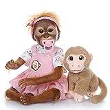 Pinky Reborn Bambole iCradle 21 Pollici 52 cm Simulazione Silicone Vinile Scimmia Bambola Realistica Bebe Scimmia rinata con Mohair Giocattoli per Bambini Regali di Compleanno (01F)