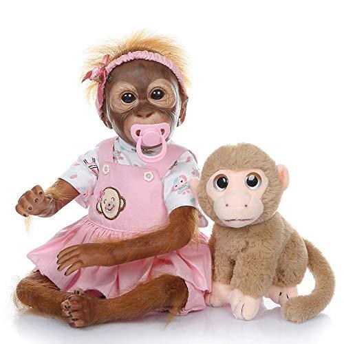 Pinky Reborn Muñecas 21 Pulgadas 52cm Simulación Silicona Vinilo Monkey Doll Realista Bebe Reborn Monkey con Mohair Toddler Toys Regalos de cumpleaños (01F)