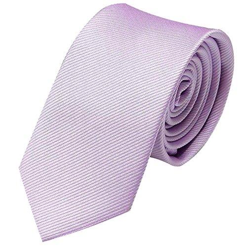 GASSANI Krawatte 6cm Schmal gestreift | Violette Rips Herrenkrawatte zum Sakko | Slim Schlips Binder einfarbig Flieder-Violett mit feinen Streifen