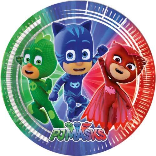 Ballonim® PJ Masks Pyjamahelden Kindergeburtstag Party Set Mottoparty (PJ Masks Pappteller, 8 Stück)