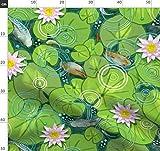 Kreise, Fisch, Grün, Botanisch, Möbelstoff Stoffe -