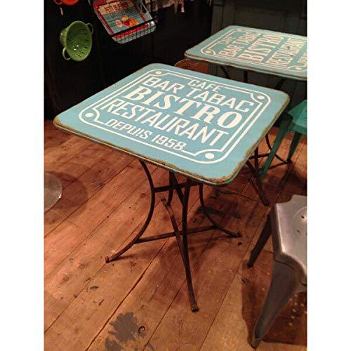 MATHI DESIGN Bistro - Table Acier Bleu