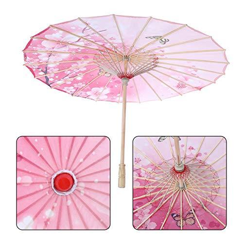 Diyeeni Traditioneller Chinesischer Sonnenschirm aus Strapazierhaftige Tuch, Schirm Durchmesser 82cm, Holzgriff 55cm, Wunderbares Kostüm Tanz Fotografie Kunst Zubehör Party (Rosa)