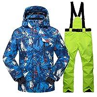スノーボードウェア新しいホットスキースーツ男性冬新しい屋外防風防水サーマル男性スノーパンツセットスキーとスノーボードスキージャケット男性メンズ レディース保温 撥水 厚手 ストラッ (Size:X Large; Color:Color 12)