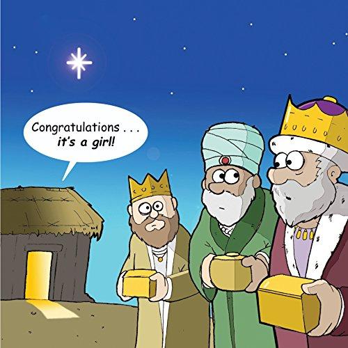 Tarjeta de felicitación de Navidad de Twizler con los tres reyes magos, Belén y una niña, postal divertida para...