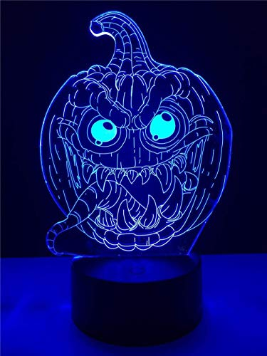 3d lampara de la noche lámpara para habitación infantil pumpkin ideal como regalo de cumpleaños para niños, niños y hombres Con carga USB, control táctil de cambio de color colorido