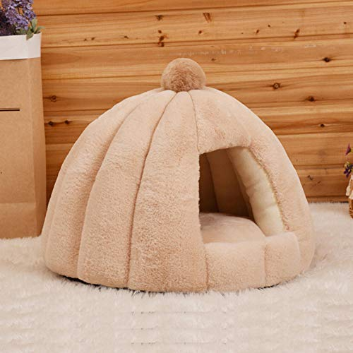 SYQY Mascota Gato Cueva Tienda casa Perrera Invierno cálido Perro Nido Plegable-Caqui_L 56x56x48cm