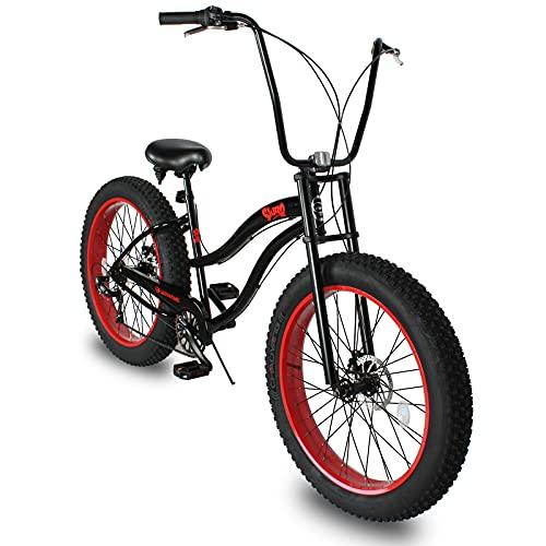 Micargi Slugo B Mens Fat Tire Cruiser Bike, 26-Inch Wheels, 4-Inch Wide Knobby Tires, Hi-Ten Steel Frame, Coaster Brake, City, Country, Beach Bicycle