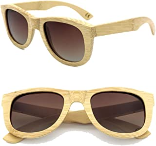LUKEEXIN Vintage Bamboo Glasses, Polarized Color Sunglasses for Women/Men (Color : Brown)