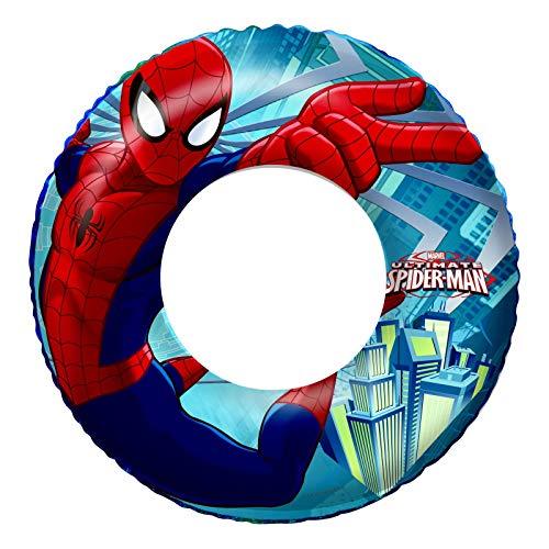 Spider-Man Spider Man Anneau de Bain de Natation Anneau de natation avec bouée Pneu Swim Ring avec bouée gonflé env. 56 cm unaufgeblasen env. 50 cm, film PVC env. 0,20 mm Spiderman Super schwimms Passe enfants Spass