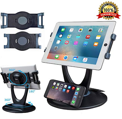 Business Retail Tablet Stand, 360 Rotates iPad Stand for 6 inch to 13 inch Tablets, Swivel Tablet Holder w Pen Storage and Phone Stand for Store...