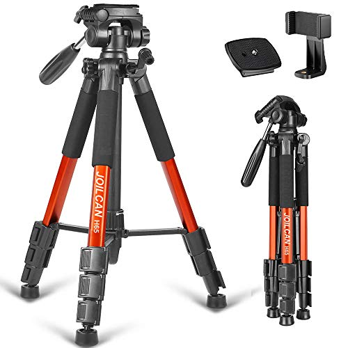 "Joilcan 66"" Lightweight Camera/Phone Tripod, Aluminum Travel Portable SLR Camera Tripod with Mobile Phone Mount and 2 Quick Release Plate &Carrying Case (Orange)"