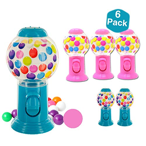 Gumball Machine Great for Party Favor | No Coins Necessary Bubble Gum Dispenser | Bright Color Blue Pink 6 Pack