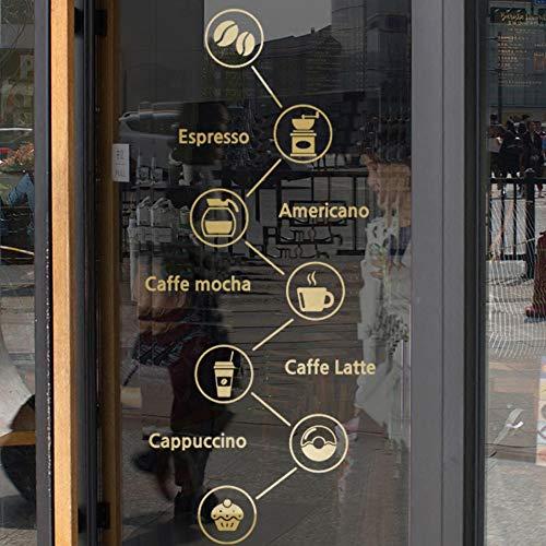Olivialulu Koffie Verbinding Raam Glazen Stickers Decoratie Art Kleine Verse Café Thee Shop Dessert Shop Achtergrond Muurstickers