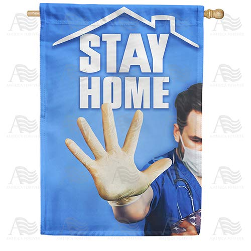 America Forever Flags Double Sided House Flag - Stay Home, Save Lives - 28' x 40', Stay at Home Stop Covid-19 Coronavirus Pandemic Flag, Yard Outdoor Decorative Flags