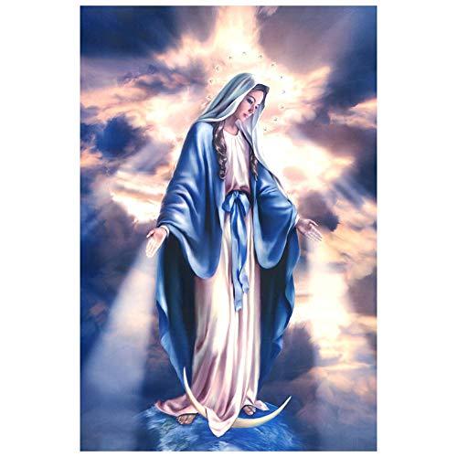 Virgen María Ascendente ángel bebé Cartel Jesus Retrato Cruz Cristiana Pintura al óleo Sala de Estar Colgando Cuadro Pared gráfico