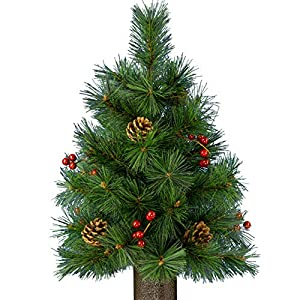 Sympathy Silks Artificial Tree- Realistic Pines-24in Tree with Pinecones and Berries-No Watering-Christmas Tree with Stay-in-The-Vase Flower Holder and 3 Prong feet