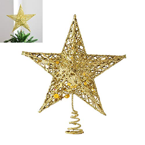 25Cm Albero Di Natale Topper, Christmas Tree LED Stella, Puntale Per Albero Di Natale A Forma Di Stella Glitter Oro Albero Di Natale Stelle Toppers Decorazioni Natalizie Per Albero Di Natale, Oro