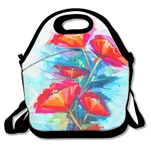 VTXWL Abstract Oil Painting of Spring Flower Still Life of Pink and Red Poppy Colorful Bouquet Flowers Lunch Tote Lunch Bag School Mid-Sized