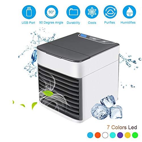 Accueil Mini Climatiseur Portable Air Cooler 7 Couleurs LED USB Personal Space Cooler Ventilateur De Refroidissement Du Ventilateur Rechargeable Ventilateur Bureau (Réservoir D'eau: 500 Ml)