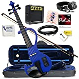 Electric Violin Bunnel Edge Outfit 4/4 Full Size (BLUE) Electric Amp, Carrying Case and Accessories Included - Headphone Jack - Highest Quality with Piezo ceramic pick-up By Kennedy Violins