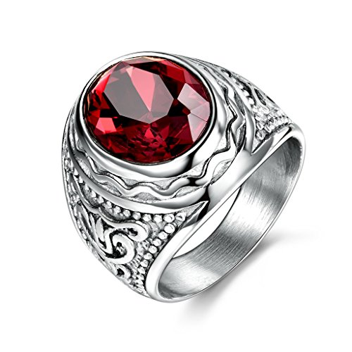 MASOP Retro Gothic Cool Male Rings Stainless Steel Engraved Silver Color Fashion Party Jewelry Size 8-12