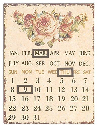 C&E Dauerkalender oder Jahreskalender, Vintage Retro Blechschild, Material Metall, Maße 33 x 25 cm, Blumen oder florales Design, Clayre & Eef Markenware, tolle Geschenkidee