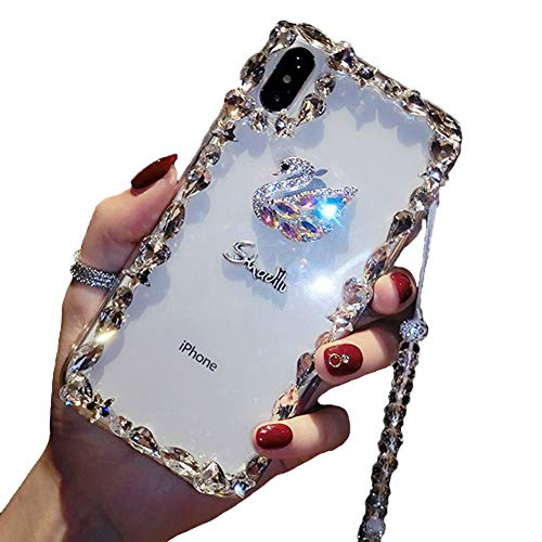 KESV for Vivo X27 Pro Case 3D Glitter Sparkle Bling Case Luxury Shiny Crystal Rhinestone Diamond Bumper Clear Protective Case Cover Clear,with Lanyard