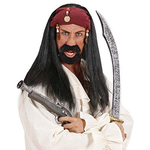 Perruque Jack Sparrow pirate bandana et perles Postiche de déguisement pirate cheveux de corsaires perruque longs cheveux noirs tzigane pirate moumoute pour homme flibustier carnaval déguisement accessoire