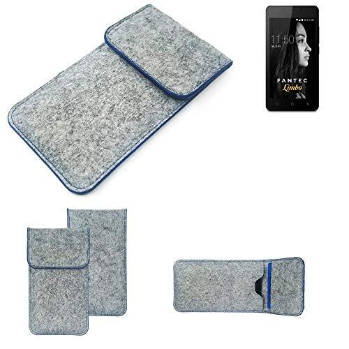 K-S-Trade Handy Schutz Hülle Für FANTEC Limbo Schutzhülle Handyhülle Filztasche Pouch Tasche Hülle Sleeve Filzhülle Hellgrau, Blauer Rand