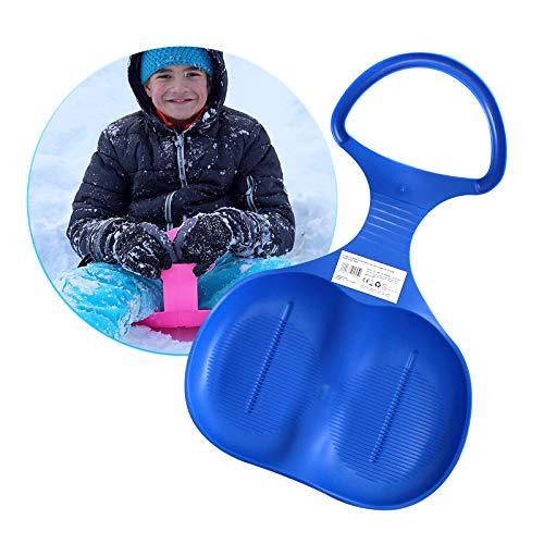 Eaxus® Kinder Schlitten Schneeflitzer/Schneerutzscher mit Handgriff. Rutschteller zum Rodeln, Blau