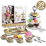 deAO Set da tè e Pasticceria Gioco per Bambini Set di 39 Pezzi Include Dolci d'Imitazione...