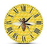 掛け時計 蜂蜜のリビングルームの壁の芸術時計の12インチの丸い時計の蜂ハニカムの蜂蜜の蜂保育園の壁の装飾マルハナバチ花粉症現代の壁の時計木製 サイレント 連続秒針 北欧 静音