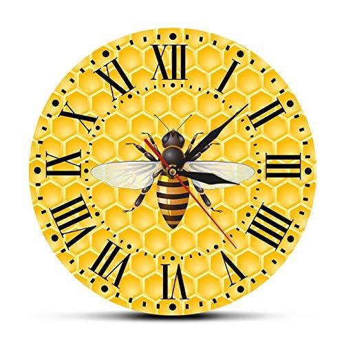 xinxin Relojes de Pared Abejas en Miel Reloj de Arte de Pared para Sala de Estar Abejas de Miel en panales Decoración de Pared de guardería Bumble Bee Polinizador Reloj de Pared Moderno